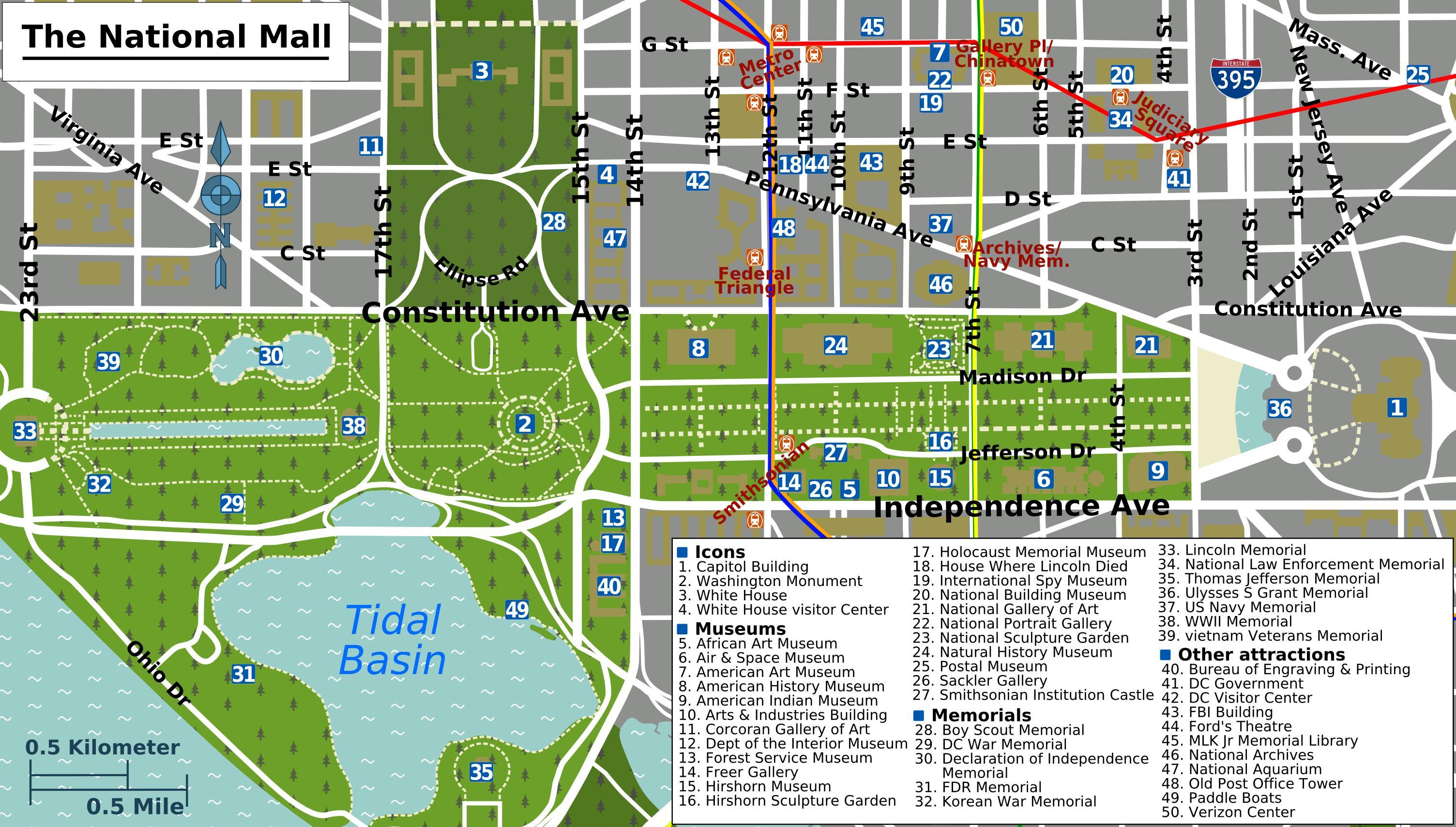 Washington mall map - Washington national mall map (District ...