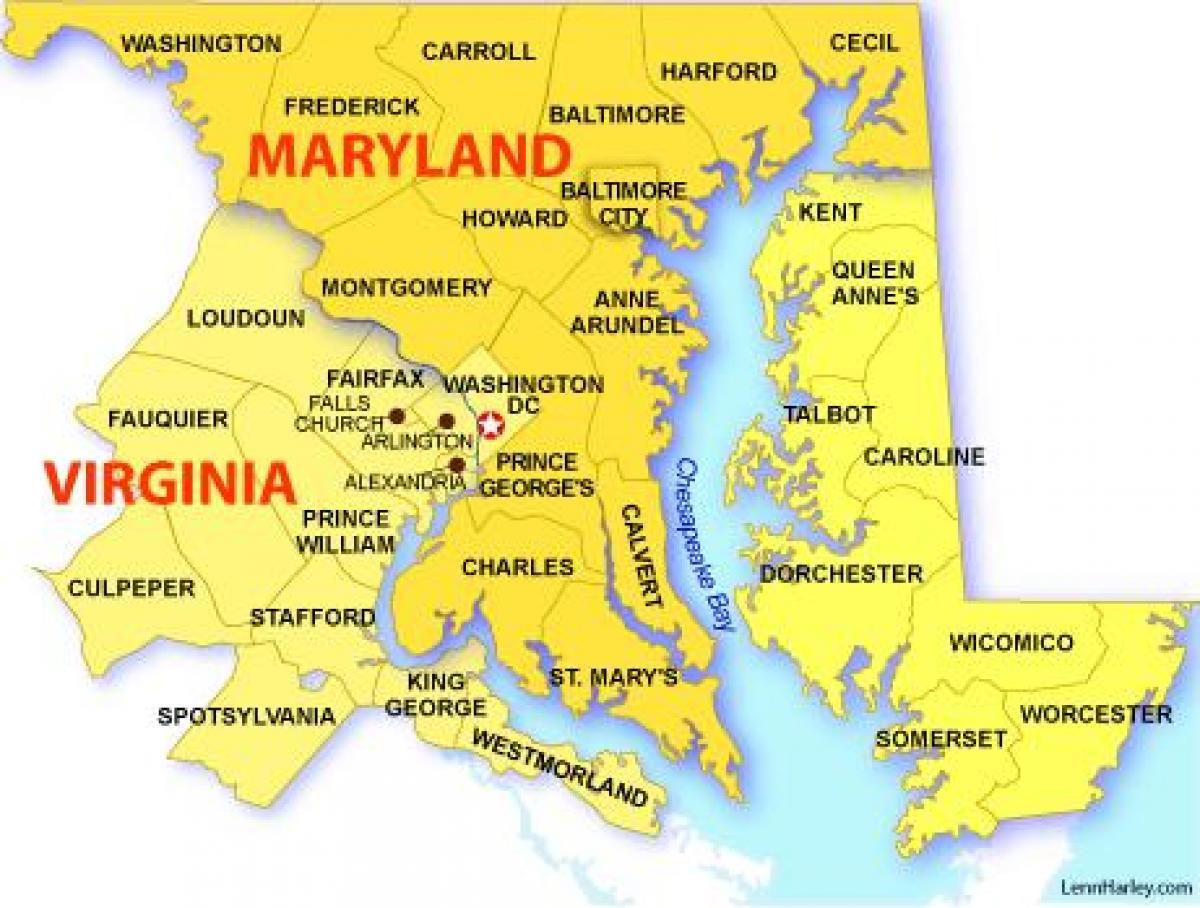 Dc Maryland Virginia Map Dc maryland virginia map   Map of maryland virginia and washington