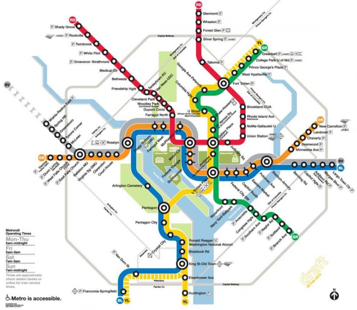 Printable Dc Metro Subway Map.Dc Map Metro Classycloud Co