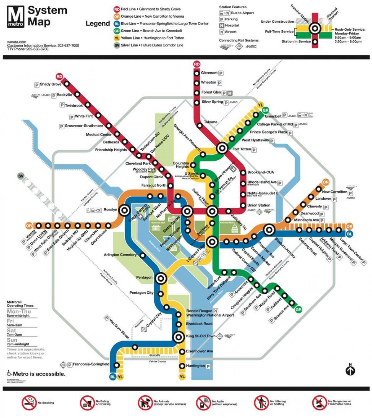 Washington Heights Subway Map.Dc Subway Map Dc Metro Subway Map District Of Columbia Usa