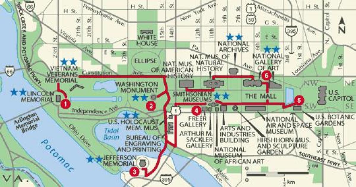 Walking Map Of Washington Dc Washington Walking Map District Of