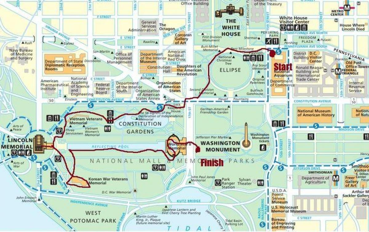 Eloquent image pertaining to printable walking map of washington dc